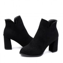 Women Suede Leather Elegant Fashion High Heels Ankle Boots