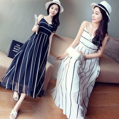 Women Stripe Bohemian Beach Dress Stretchable Waist Plus Size Dress