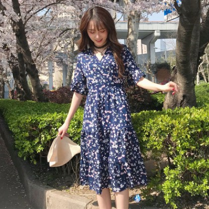 Women Floral Chiffon V Neck Trumpet Sleeve Skirt Dress