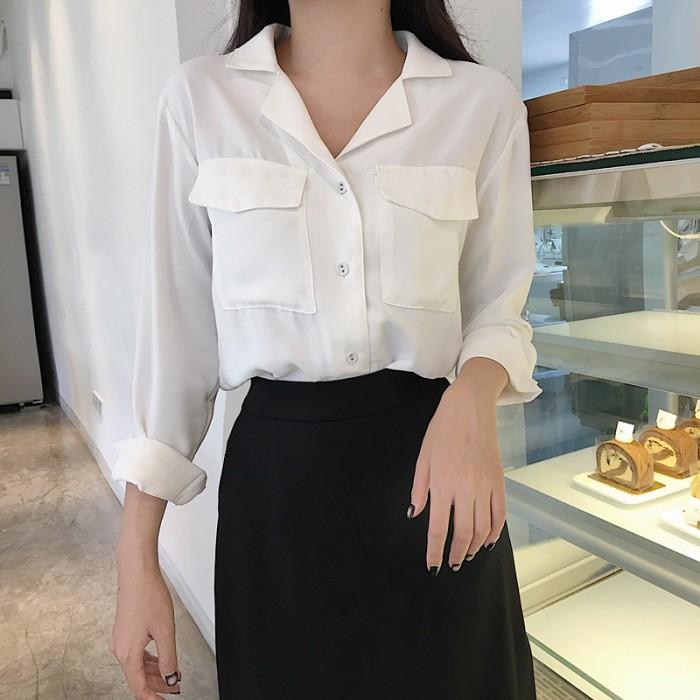 146eabeb49a32 Women Retro Chic Classy Chiffon Long Sleeve Breast Pocket Blouse