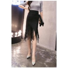 [PRE-ORDER] Women Black Long High Waist Sexy Stretch Tassel Plus Size Skirt