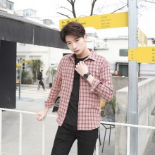 [PRE-ORDER] Men's Plaid Collared Polo Long Sleeve Handsome Slim Fit Casual Shirt
