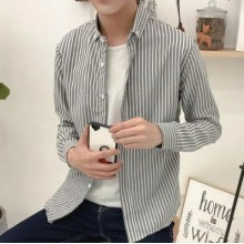 [PRE-ORDER] Men's Striped Round Polo Collar Casual Long Sleeves Slim Fit Shirt