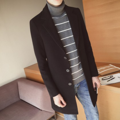 Men's Wool Casual Long Sleeve Coat Long Windbreaker Plus Size Jacket