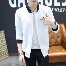Men's Trend Slim Handsome Round Neck Collar Jacket Long Sleeve Zippered Jacket
