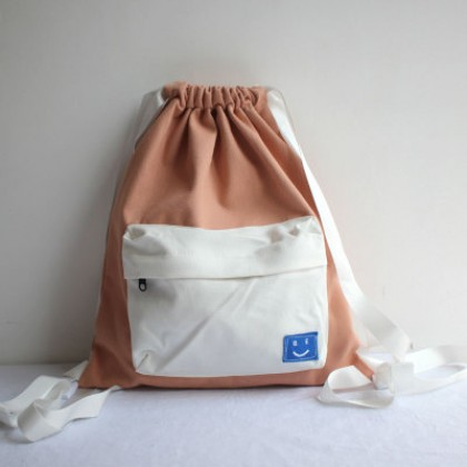 Women Drawstring Colored Smile Fashion Canvas Couple Backpack