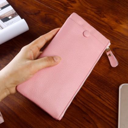 Men's Soft Skin Phone Pouch Unisex Slim Zippered Couple Wallet