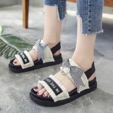 [PRE-ORDER] Women Ribbon Cloth Rome Slippers Flat Ladies  Plus Size Sandals