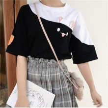Women Cute Rabbit Ears Giant Sleeve Loose Shirt Round Collar Tops