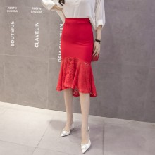 [PRE-ORDER] Women High Waist Fishtail Lace Edge Stretchable Plus Size Skirt