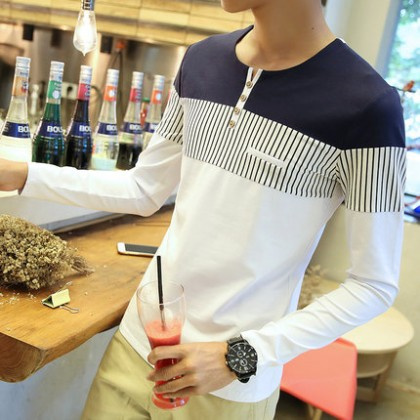Men's Striped Long Sleeves Casual Apparel Trend Guy Plus Size Shirt Tees
