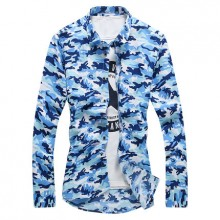 [PRE-ORDER] Men's Camouflage Collared Long Sleeves Casual Slim Fit Plus Size Shirts