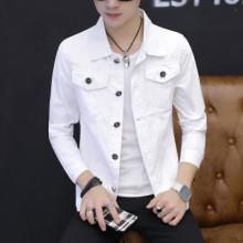 Men's Solid Color Denim Trend Slim Fit Crop Sleeve Front Pocket Jacket