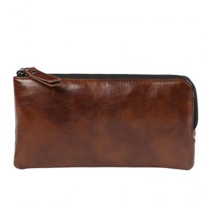 Men's  Leather Retro Class Multi Card Clutch Cellphone Case Long Purse Wallet