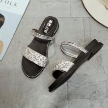 [PRE-ORDER] Women Rhinestones Style Strap Two Way Wear Slipper Sandals Plus Size Low Heels Shoes