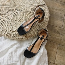 [PRE-ORDER] Women Transparent Open Toe Sexy Thick High Heels Ankle Buckle Sandals