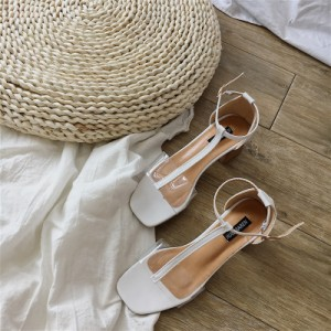 Women Transparent Open Toe Sexy Thick High Heels Ankle Buckle Sandals