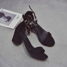 [PRE-ORDER] Women Fairy Shoes Ankle Chain Buckle Wide Heels Ladies Sexy High Heels Sandals