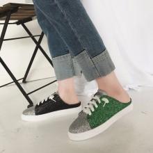Women Shiny Glittered No Heel Lazy Shoes Half Drag Teen Fashion Sneakers