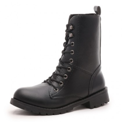 Women Black Military Casual Ladies Boots Plus Size High Boots