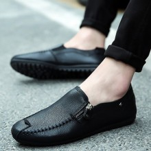 Men's Handsome Fashion Small Side Zipper Guy Trend Casual Flat Shoes