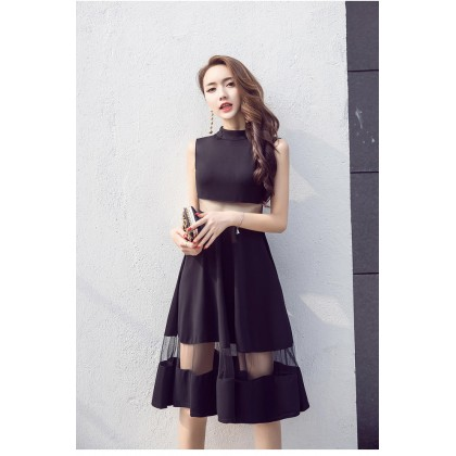 Women Black Mesh See Through Waist Long Sexy Sleeveless Plus Size Dress