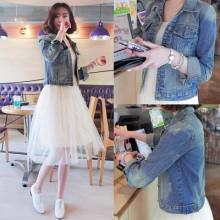 Women Denim Cardigan Jacket Long Sleeve Fashion Plus Size Jacket