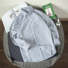 [PRE-ORDER] Men's Stripes Handsome Trend Slim Fit Polo Collar Casual Long Sleeves