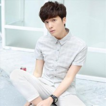 [PRE-ORDER] Men's Plaid Polo Collar Short Sleeve Handsome Fit Plus Size Polo Shirt
