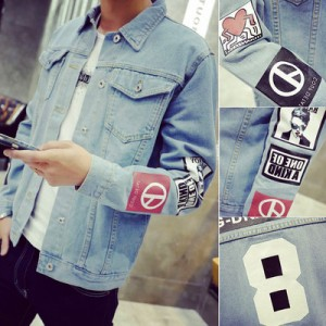 Men's Retro Denim Print Slim Type Thick Long Sleeves Teen Trend Jacket