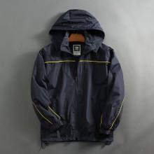 Men's Black Hooded Loose Cardigan Coat Outdoor Jacket