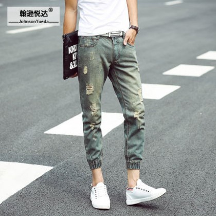 Men's Tattered Denim Jeans Slim Fit Crop Jeans Plus Size Pants
