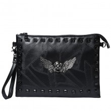 Men's Black Dark Angel Fashion Envelope Hand Bag Unisex Clutch Bag