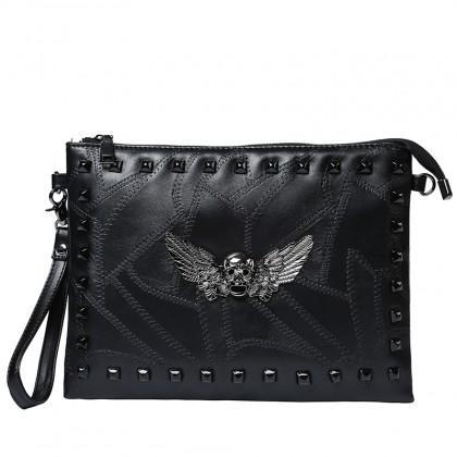 Men's Black Dark Angel Fashion Envelope Hand Bag Unisex Clutch Bag