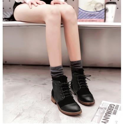 Women Black Martin Tie Up Shoes Ladies Fashion Plus Size Boots