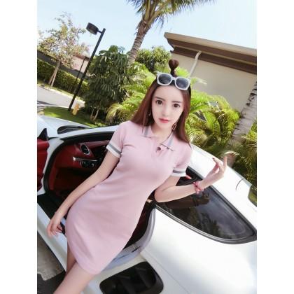 Women Sweet Fashion Short Sleeve Slim Fit Collared Polo Dress Skirt