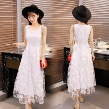 Women White Lace Sleeveless Summer Fashion Plus Size Long Dress