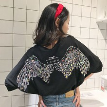 Women Back Design Wings Summer Fashion  Loose Shirt Round Neck Thin Top