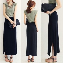 [PRE-ORDER] Women Classic Long Black Elastic Waist Side Sexy Slit Plus Size Long Skirt