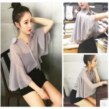 Women Gray Chiffon Loose Bat Sleeve Collared Vest Female Fashion Shirt Vest