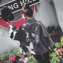 Women Denim Big Hole Retro Long Sleeve Street Fashion Plus Size Denim Jacket