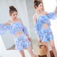 Women Floral Split Swimsuit Cold Shoulder Summer Fashion Beach Plus Size Swimsuit Set
