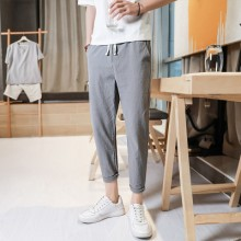 Men's Linen Trousers Loose Pants Casual Trend Plus Size Crop Pants