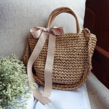 Women Straw Woven Design With Ribbon Lace Tie Style Shoulder Bag