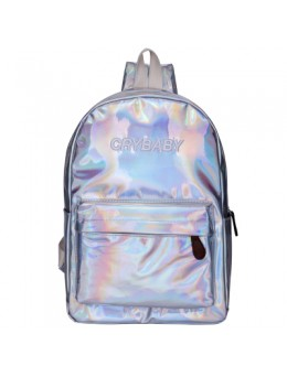[PRE-ORDER] Women Holographic Metallic Student Bag Campus Fashion School Backpack