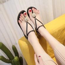 Women Pearl Beads Roman Flat Sandals Summer Fashion Ladies Sandals