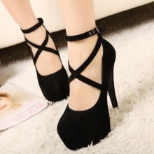 Women Super High Fine Suede Strap Ankle Buckle Large Plus Size High Heels