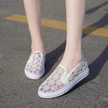 Women Flower Mesh Breathable Comfy Style Ladies Street Fashion Plus Size Sneaker Shoes