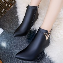 Women Pointed Sexy Fine High Heeled Side Zipper Plus Size Ankle Boots