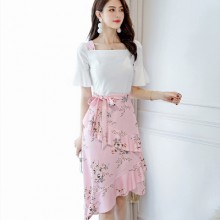 Women White Top Floral Skirt Short Bell Sleeve Wrap Around Skirt Plus Size Casual Dress